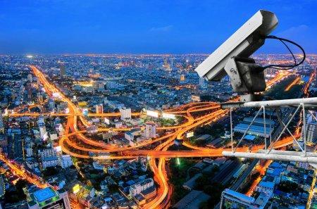 камера обзор на ночной город